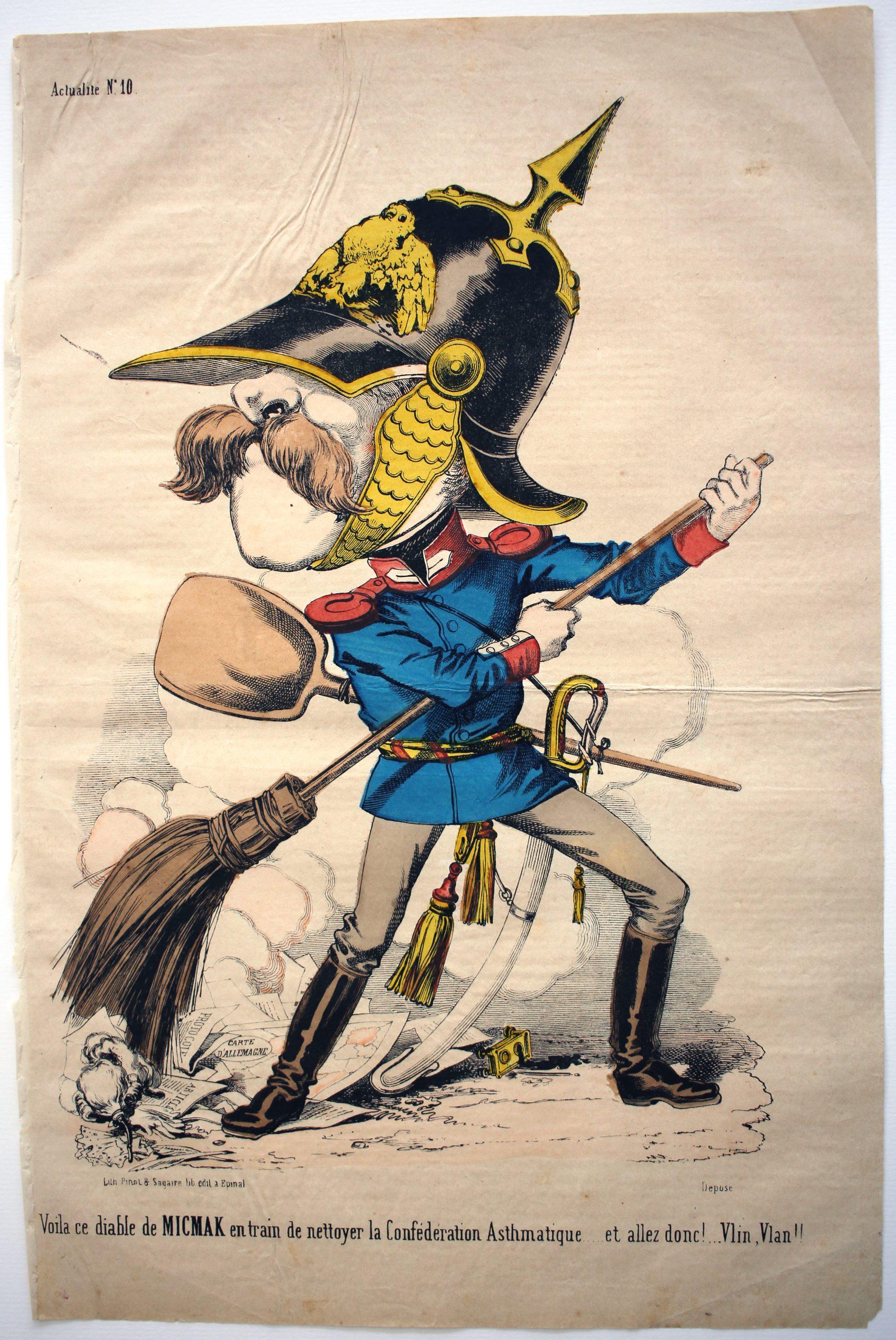 Imagerie Epinal - Pinot et Sagaire - Caricature - Prusse - Guerre 1866 - Austro - Prussienne - Casque à pointe