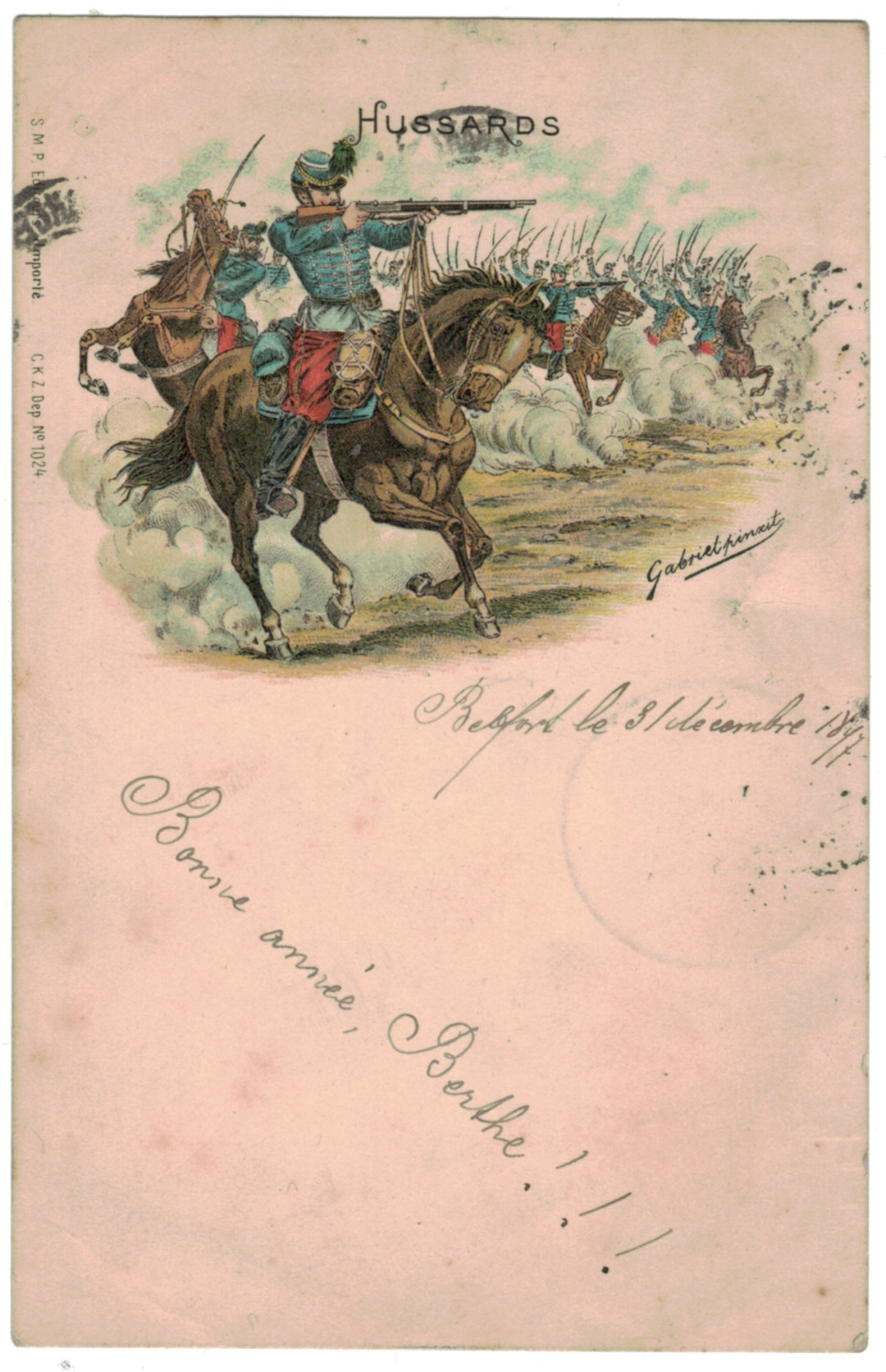 1 Carte Postale - Armée Française en campagne - Hussards - 1897