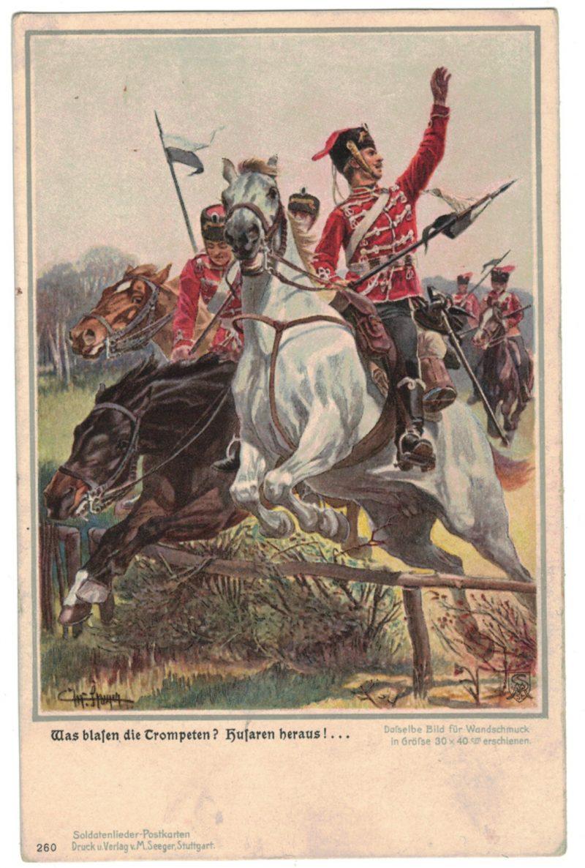 1 Carte Postale - Armée Allemande en campagne - Hussards - Lancier - Soldatenlieder