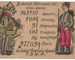 Carte Postale Française Lithographie - iconographie 14/18 - Humour Chiffre Décompte Guerre - Caricature