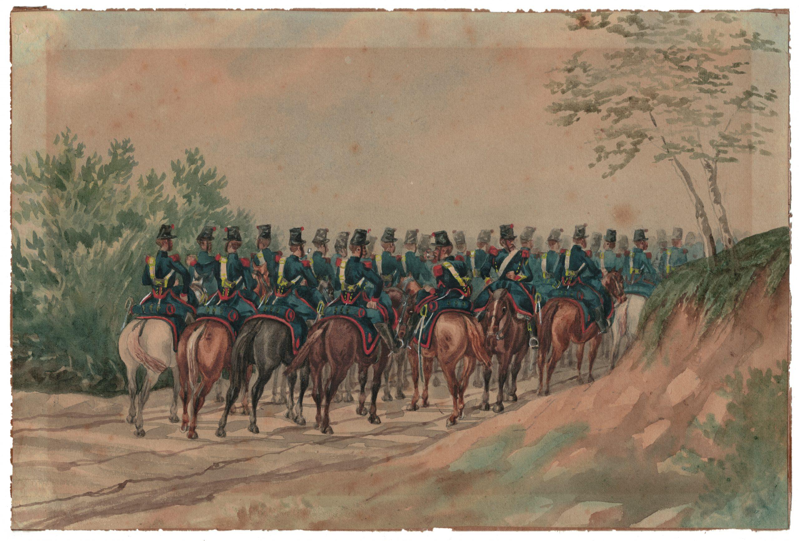 Aquarelle - Originale - Artilleurs à Cheval Second Empire - Peinture - Soldat- Uniforme - Napoléon III