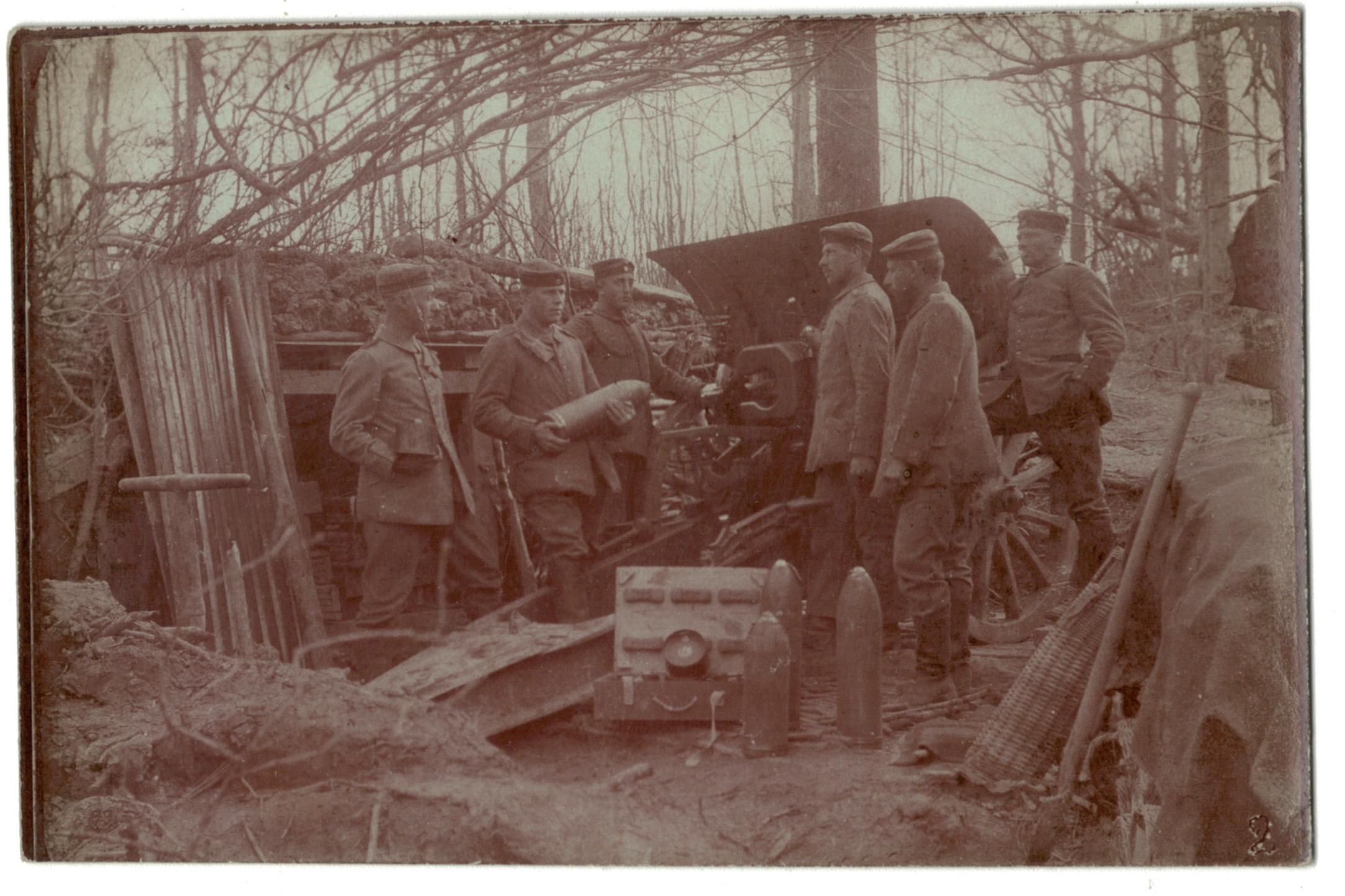 3 Photos papier originale - Artillerie Canon 14/18 - Allemagne - Tranchée - Front - Verdun 1917