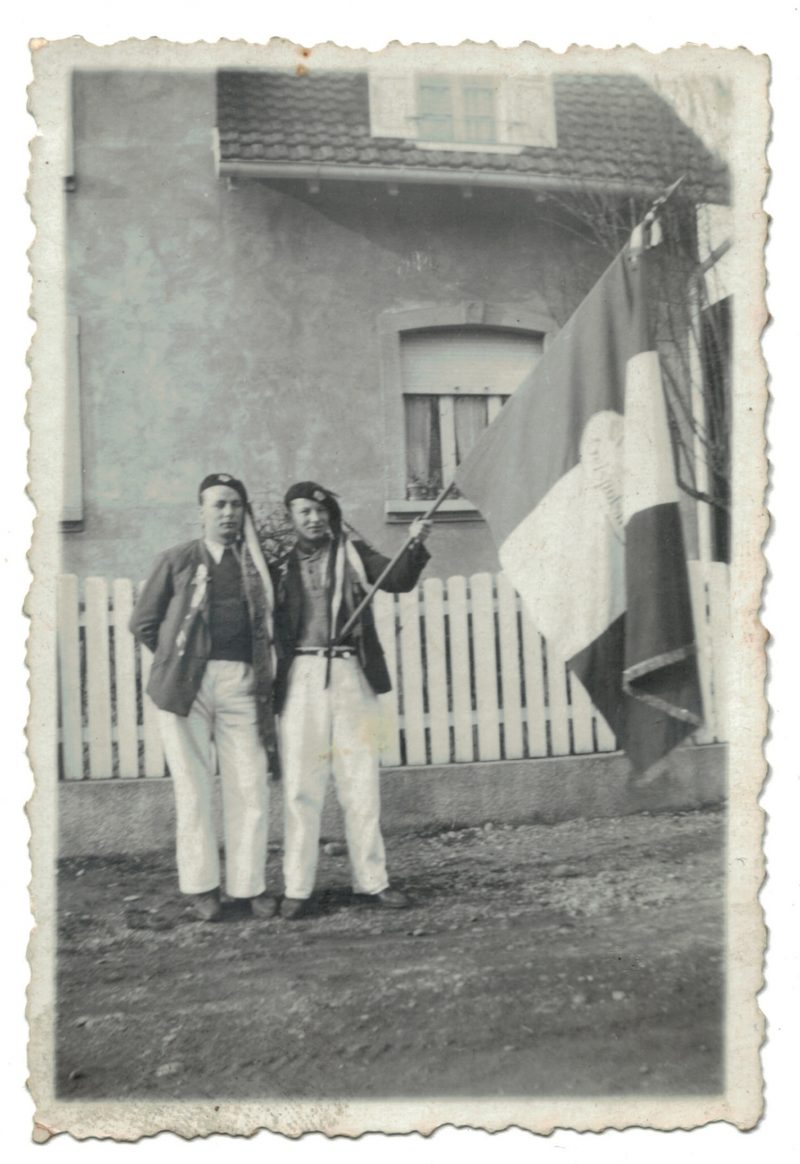 1 Photo papier originale - Conscription - Conscrit militaire - Soldat - drapeau - Tirage au sort - Alsacien - Folklore