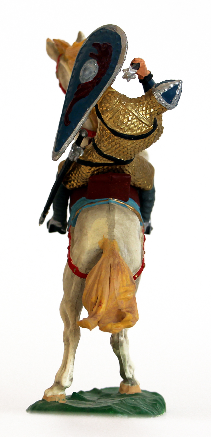 Ancienne Figurine Hausser Elastolin German plastic Normand Elastolin Norman on Rearing Horse Attacking with Hammer