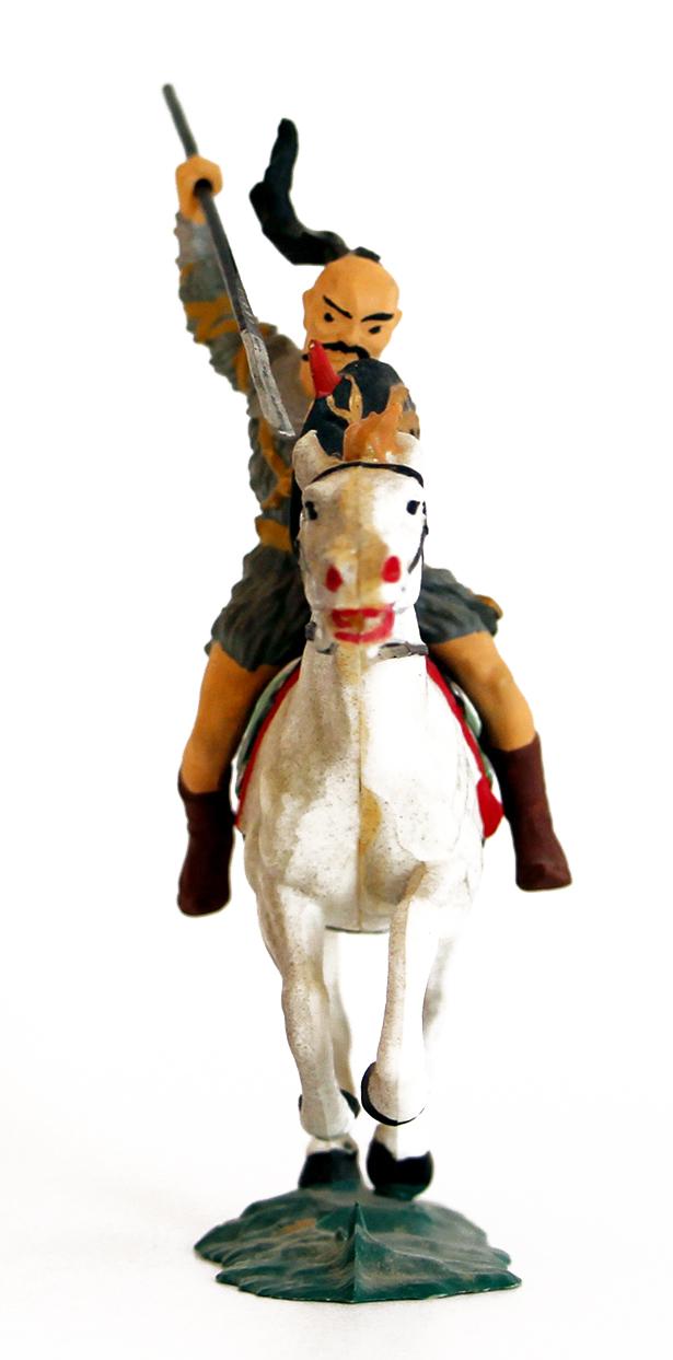 Ancienne Figurine Hausser Elastolin German plastic Cavalier Hun Elastolin Horse Attacking