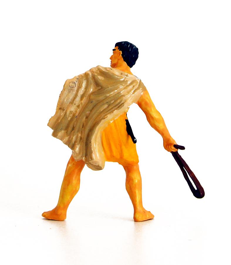 Ancienne Figurine Hausser Elastolin German plastic romain fronde