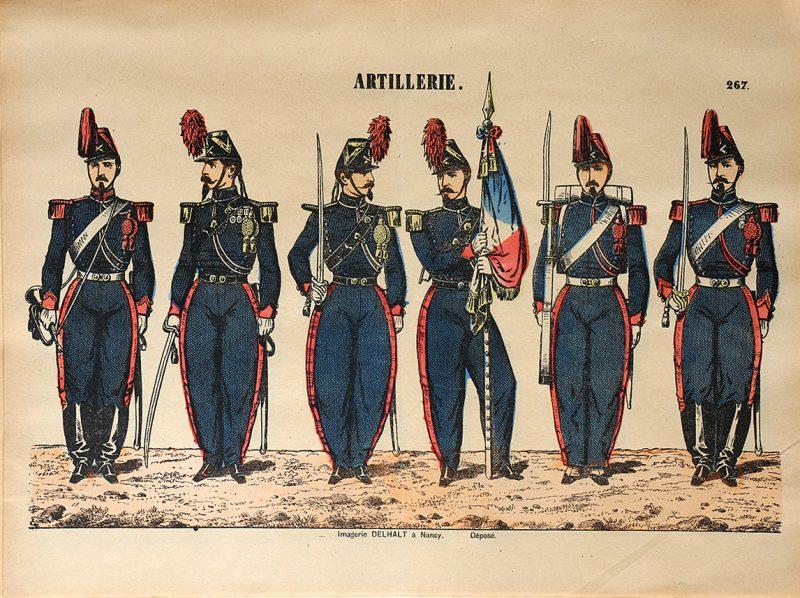 Planche Imagerie Dehalt Nancy - Imagerie Populaire - N°267 - Armée Française - Artillerie - Second Empire - (3 République)