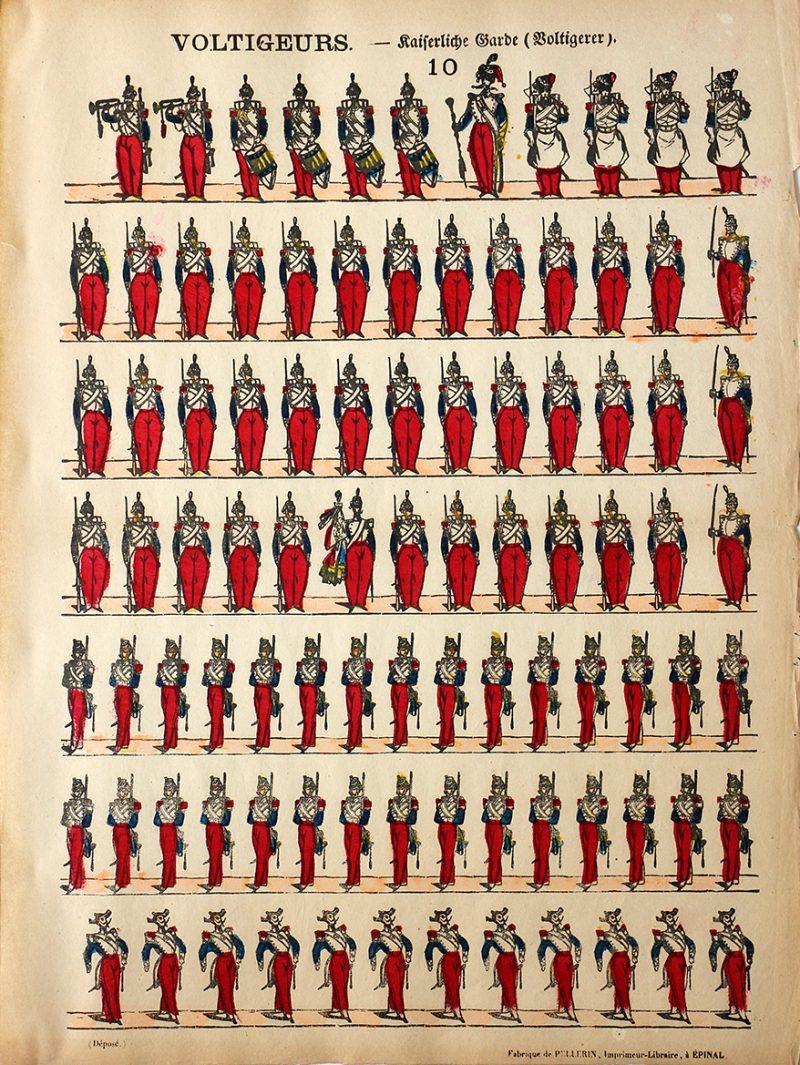 Planche Imagerie Epinal - Pellerin - N°10 - Voltigeurs Second Empire - Napoleon III