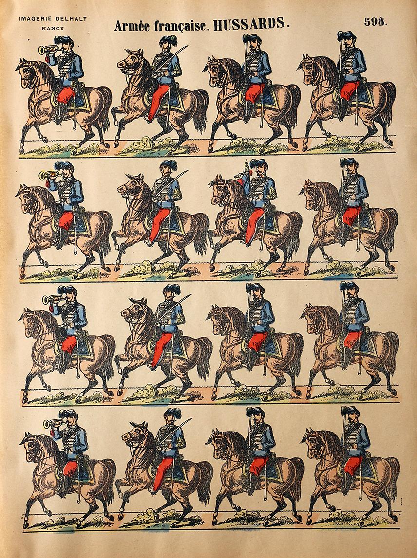 5 Planches Imagerie Dehalt Nancy - Imagerie Populaire - N°593/594/596/597/598 - Armée Française - Hussards - Chasseurs d'Afrique - Artillerie - Dragons - Garde Républicaine - 3eme République