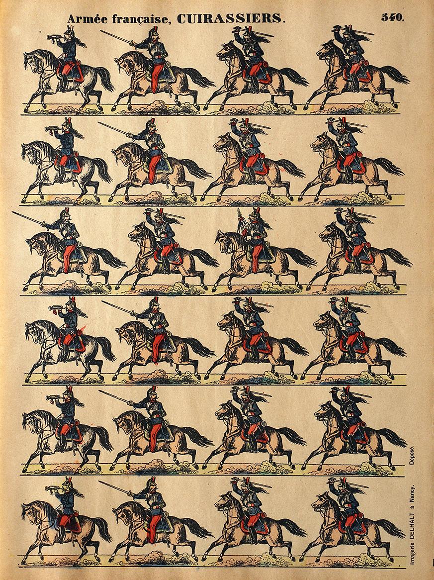 7 Planches Imagerie Dehalt Nancy - Imagerie Populaire - N°549/540/541/543/547/548/550 - Armée Française - Hussards - Chasseurs - Spahis - Artillerie - Dragons - Gendarmes - Cuirassiers - 3eme République
