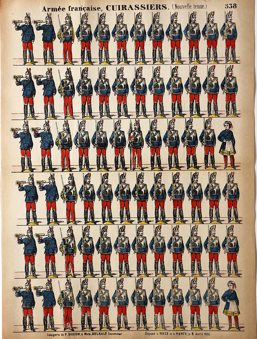 5 Planches Imagerie Dehalt Nancy - Imagerie Populaire - N°535/536/537/538/539 - Armée Française - Artillerie - Hussards - Chasseurs - Cuirassiers - Dragons - 3eme République