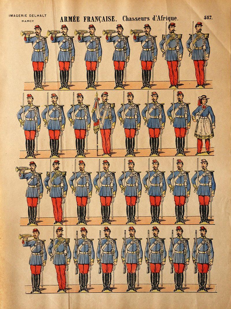 4 Planches Imagerie Dehalt Nancy - Imagerie Populaire - N°515/516/517/518/ Armée Française - Hussards - Chasseurs d'Afrique - Cuirassiers - Dragons - 3eme République