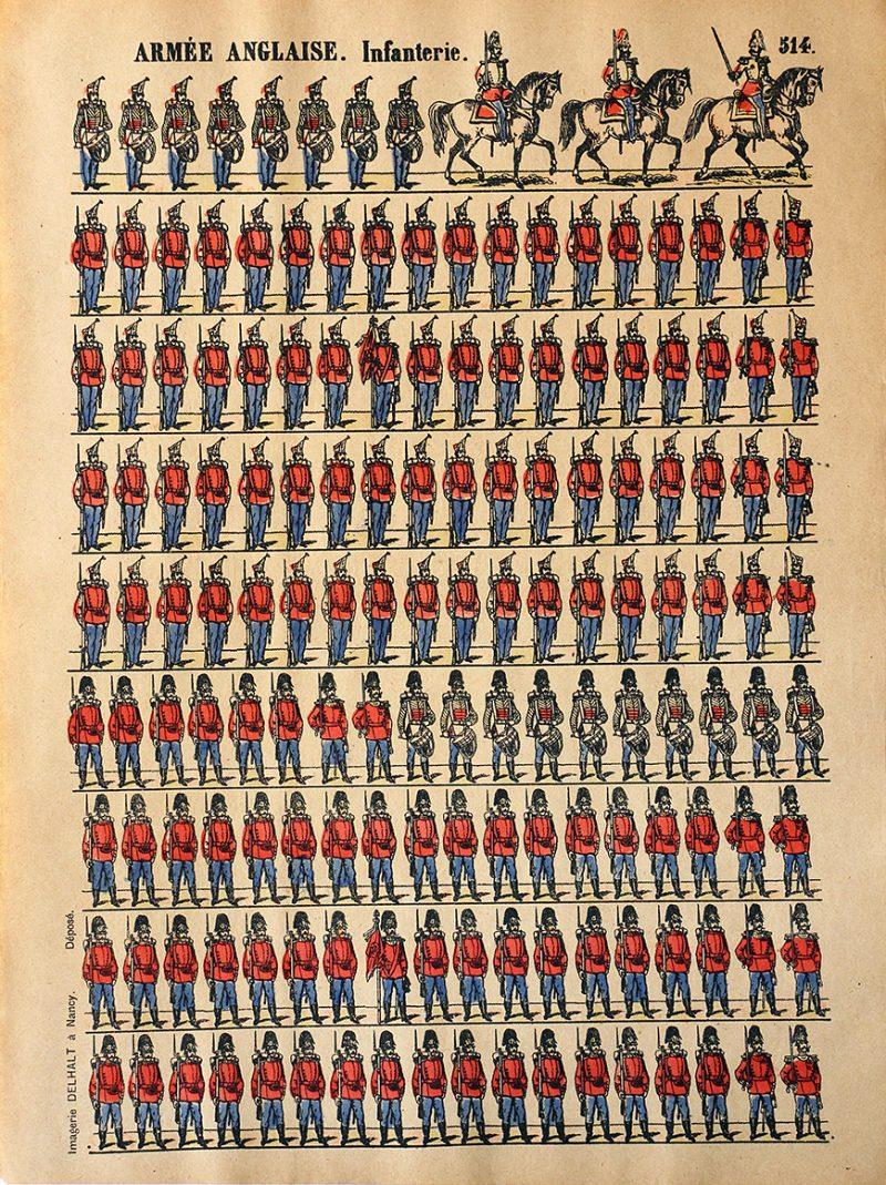 5 Planches Imagerie Dehalt Nancy - Imagerie Populaire - N°513/514/523 - Armée Anglaise