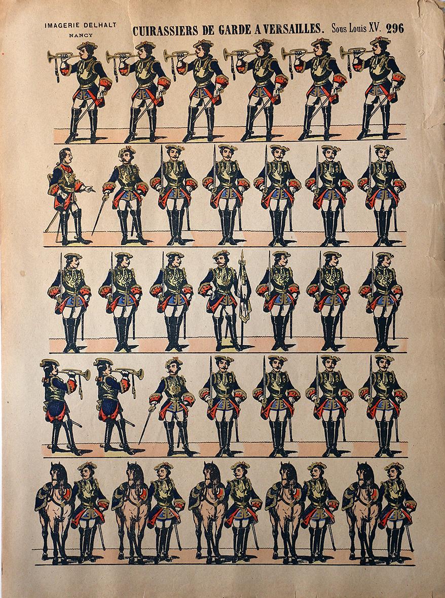 Planche Imagerie Dehalt Nancy - Imagerie Populaire - N°296 - Cuirassiers de la Garde a Versailles Sous Louis XV