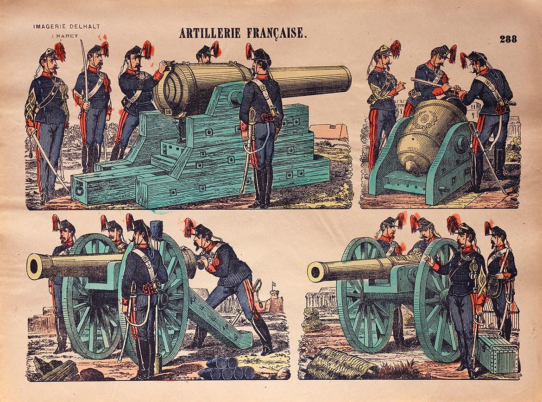 Planche Imagerie Dehalt Nancy - Imagerie Populaire - N°288- Armée Française - Artillerie - 3 République