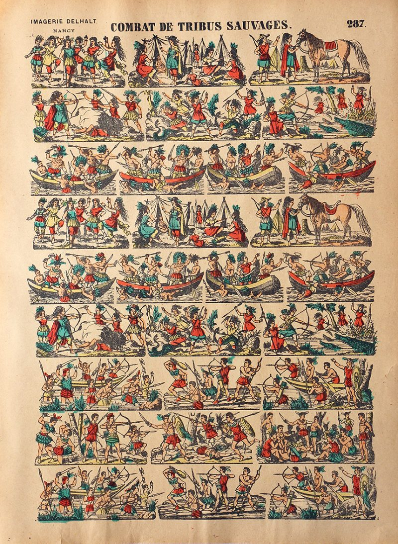 Planche Imagerie Dehalt Nancy - Imagerie Populaire - N°287 - Combat de tribus sauvages