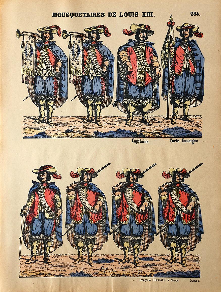 Planche Imagerie Dehalt Nancy - Imagerie Populaire - N°284 - Mousquetaires Sous Louis XIII