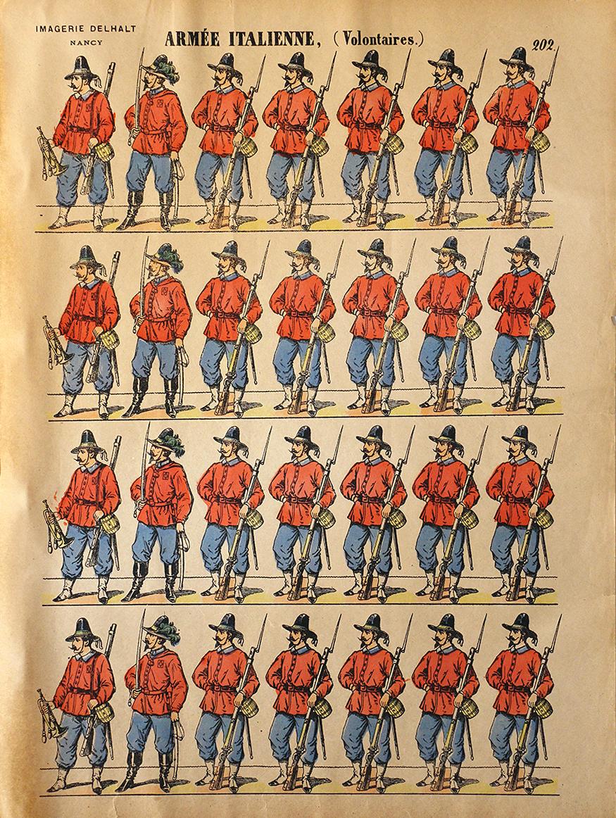 Planche Imagerie Dehalt Nancy - Imagerie Populaire - N°202 - Armée Italienne - Volontaire - Garibaldi - Chemise rouge