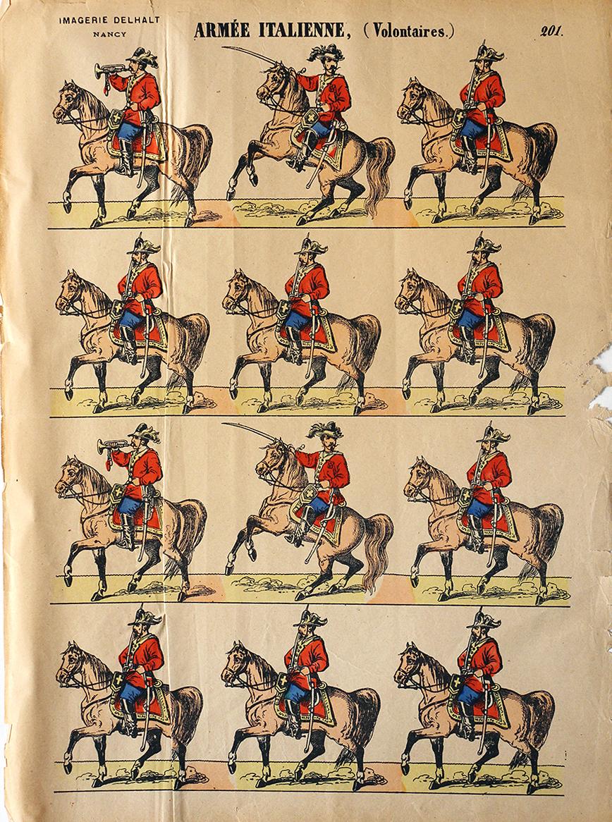 Planche Imagerie Dehalt Nancy - Imagerie Populaire - N°201 - Armée Italienne - Volontaire - Garibaldi - Chemise rouge