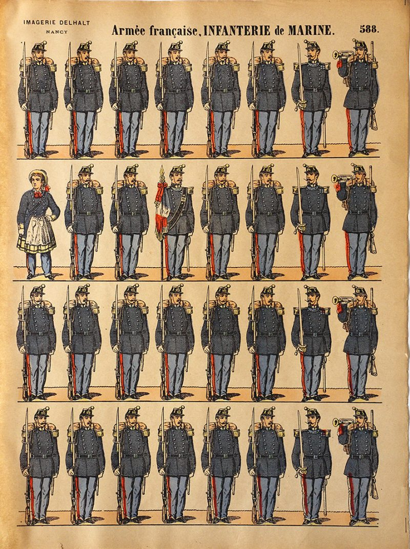 Planche Imagerie Dehalt Nancy - Imagerie Populaire - N°588 - Armée Française Infanterie de Marine - III République
