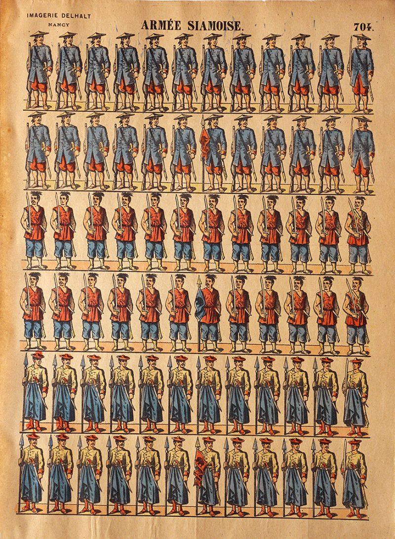 Planche Imagerie Dehalt Nancy - Imagerie Populaire - N°704 - Armée Siamoise