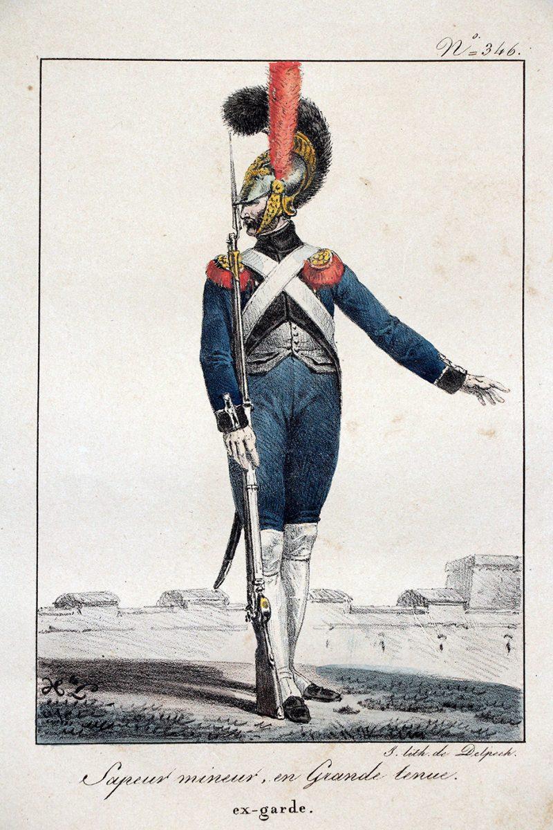 Gravure XIX - Sapeur Mineur en grande tenue - Ex- Garde - Première Restauration - Lithographie Delpech - N°346