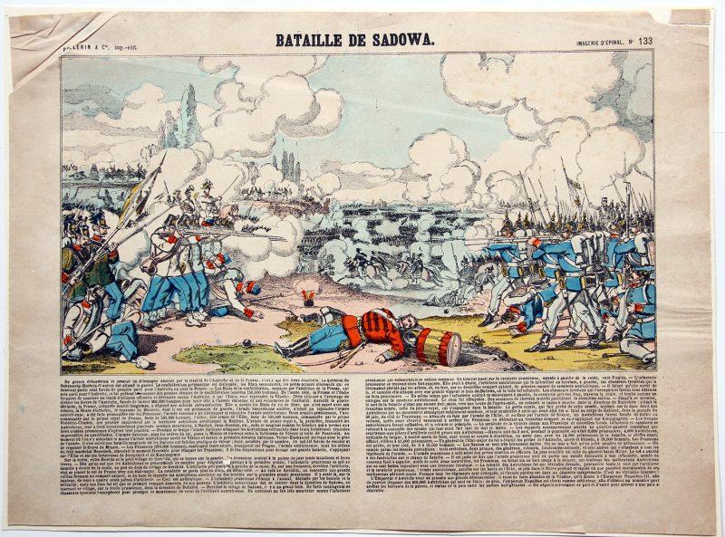 Planche imagerie Epinal - Bataille de Sadowa - 1866 - Imagerie Populaire - Planche N°133