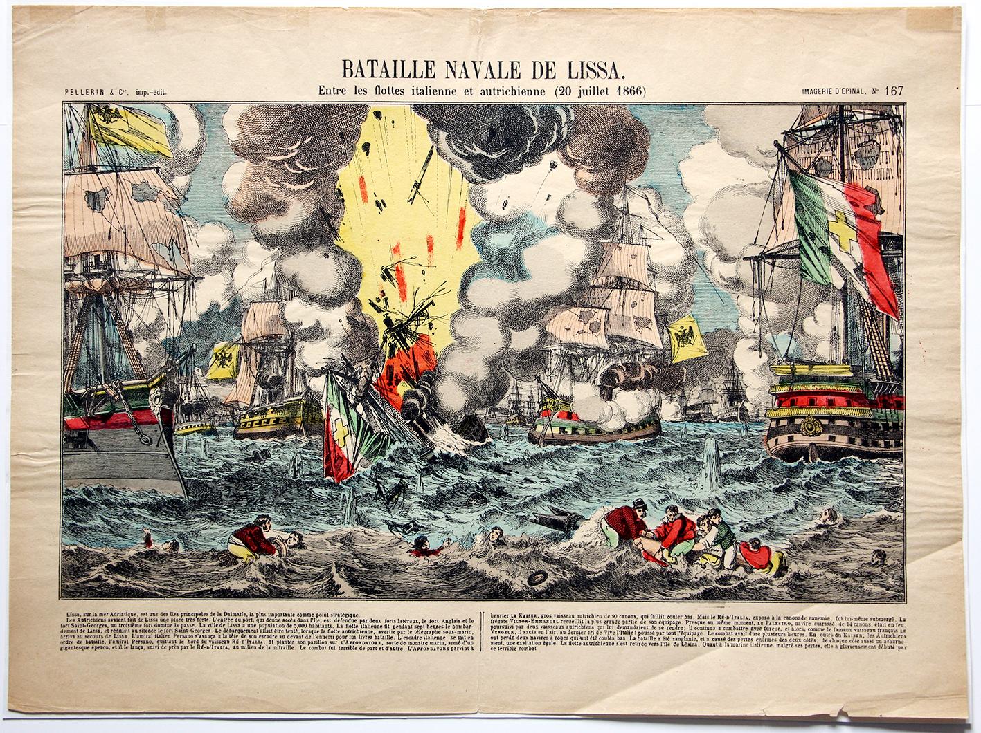 Planche imagerie Epinal - Bataille Navale de Lissa 1866 - Imagerie Populaire - Planche N°167 - Guerre 1866 - Flotte - Marine - Italie - Autriche