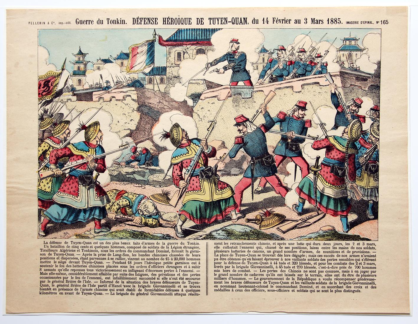 Planche imagerie Epinal - Bataille Tuyen Quan - 1885 - Imagerie Populaire - Guerre du Tonkin - Planche N°165