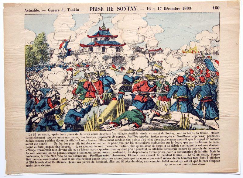 Planche imagerie Epinal - Prise de Sontay - 1883 - Imagerie Populaire - Guerre du Tonkin - Planche N°160