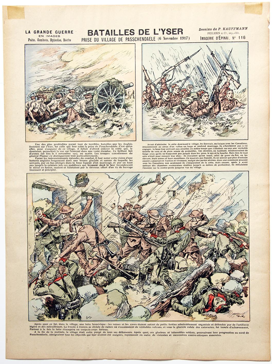 Planche imagerie Epinal - Batailles de L'Yser - La grande Guerre - Imagerie Populaire - Dessins de P.KAuffmann - Planche N°116