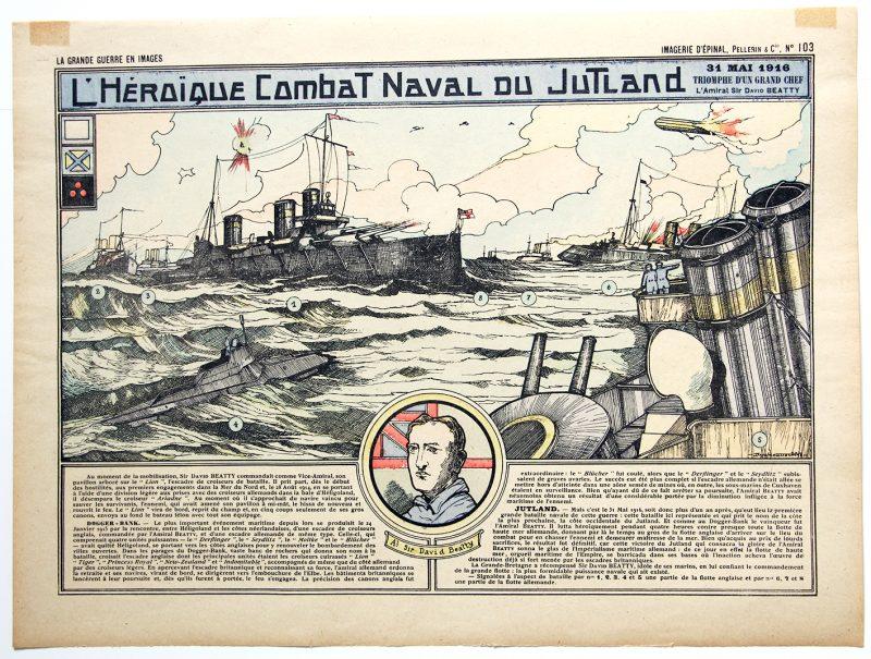 Planche imagerie Epinal - Bataille Navale du Jutland - Imagerie Populaire - Planche N°103 - Guerre 14/18 - Flotte - Marine