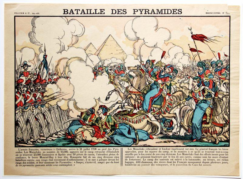 Planche imagerie Epinal - Bataille des Pyramides - Imagerie Populaire - Planche N°129 - Bonaparte - Kleber - Mameluck
