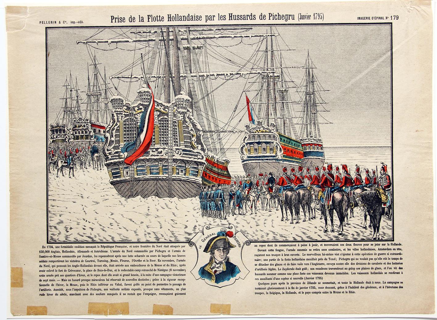Planche imagerie Epinal - Prise de la flotte Hollandaise par les hussards de Pichegru - 1795 - Imagerie Populaire - Planche N°179