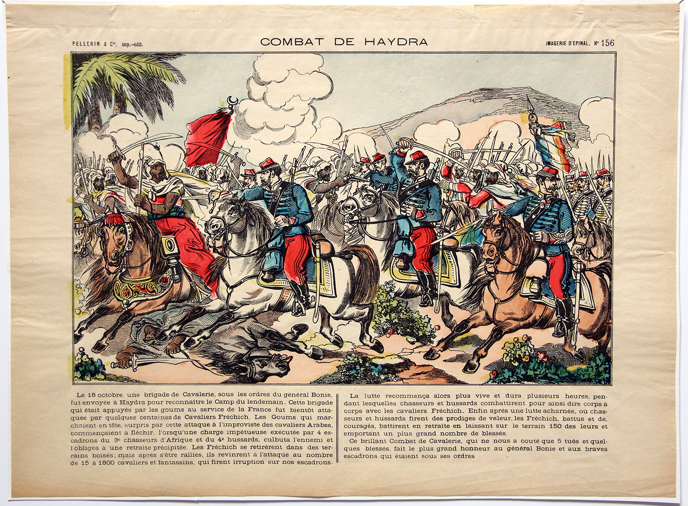 Planche imagerie Epinal - Combat de Haydra - Imagerie Populaire - Conquête de l'Algérie - Planche N°156