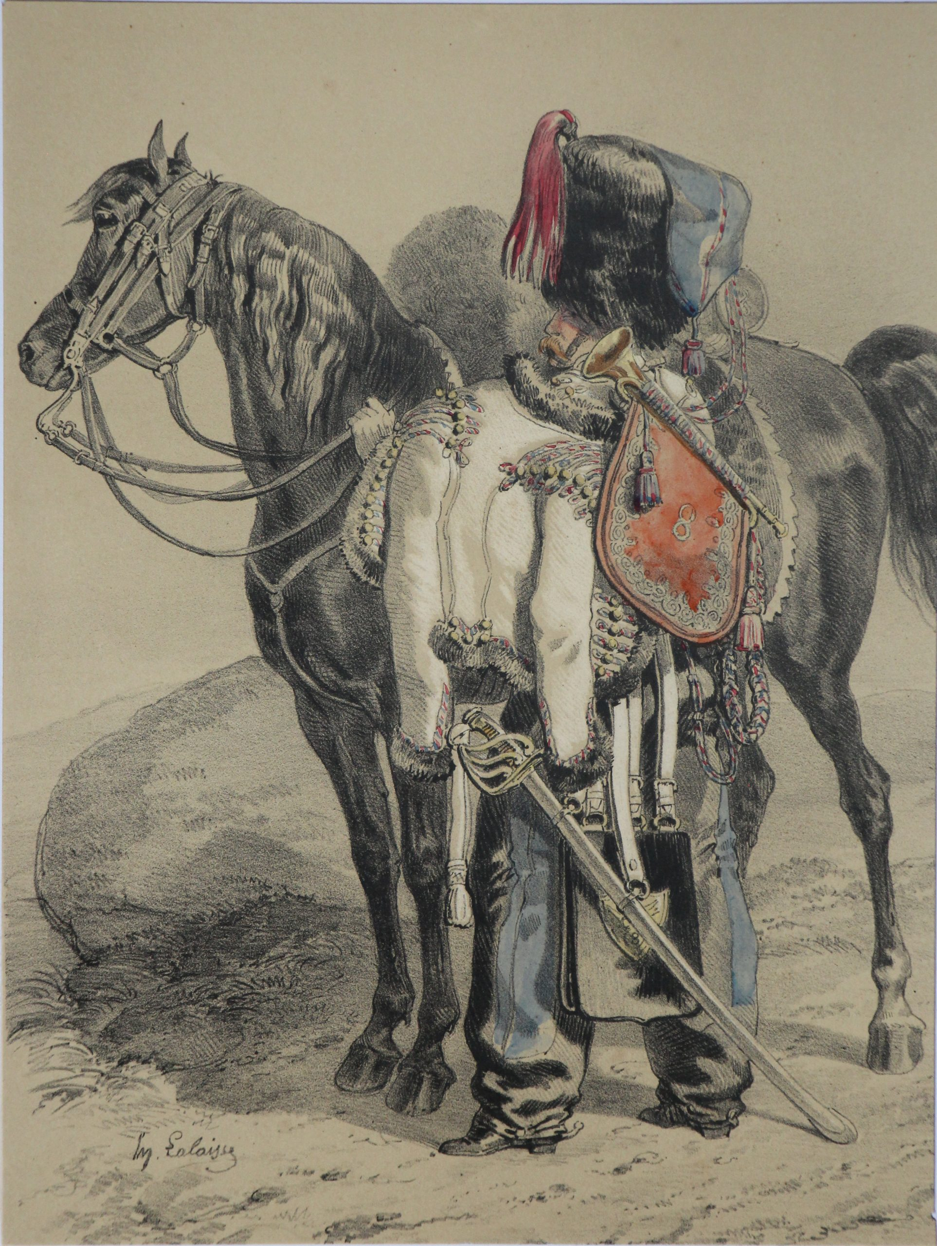 Uniforme Hussards 8 Régiment - Illustration par Lalaisse - Lithographie - 1845