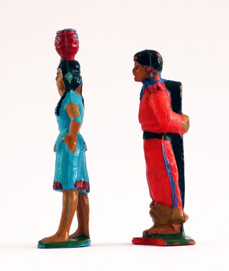 Figurine Starlux Indien Tam Tam Plaine Cowboy Prisonnier