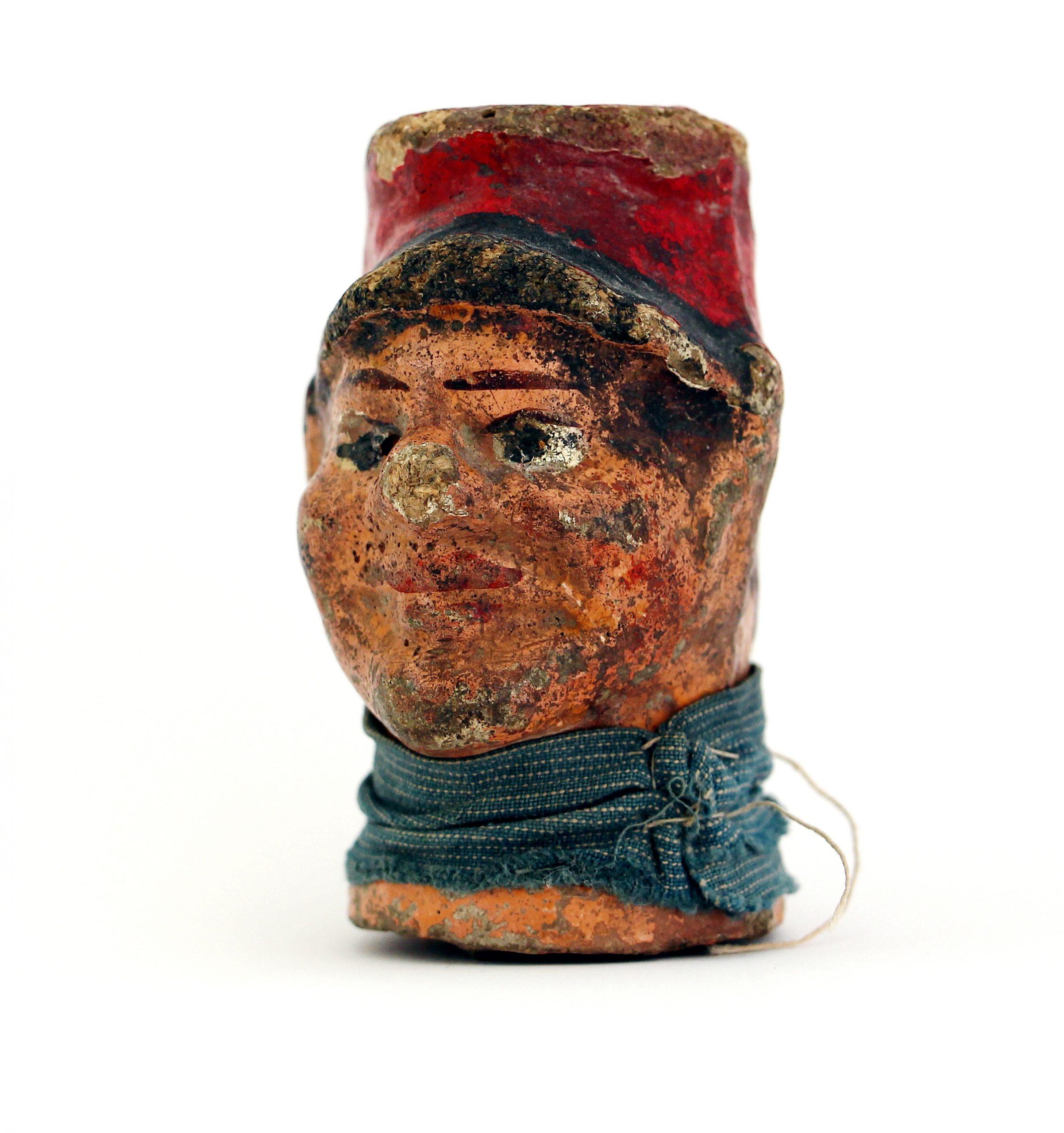 Tête de Poilu - Jouet - Guerre 14/18 - Marionnette enfant - Tranchée - Fin XIX Début XX.