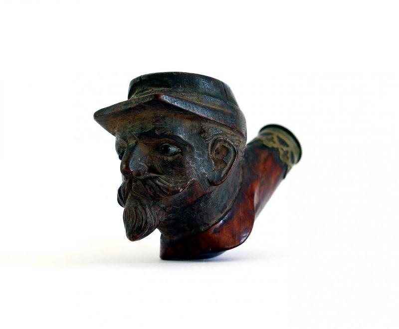 2 Têtes de pipe Second Empire en bois sculpté – Soldat armée – Napoléon III – Crimée – Solférino – Guerre 1870