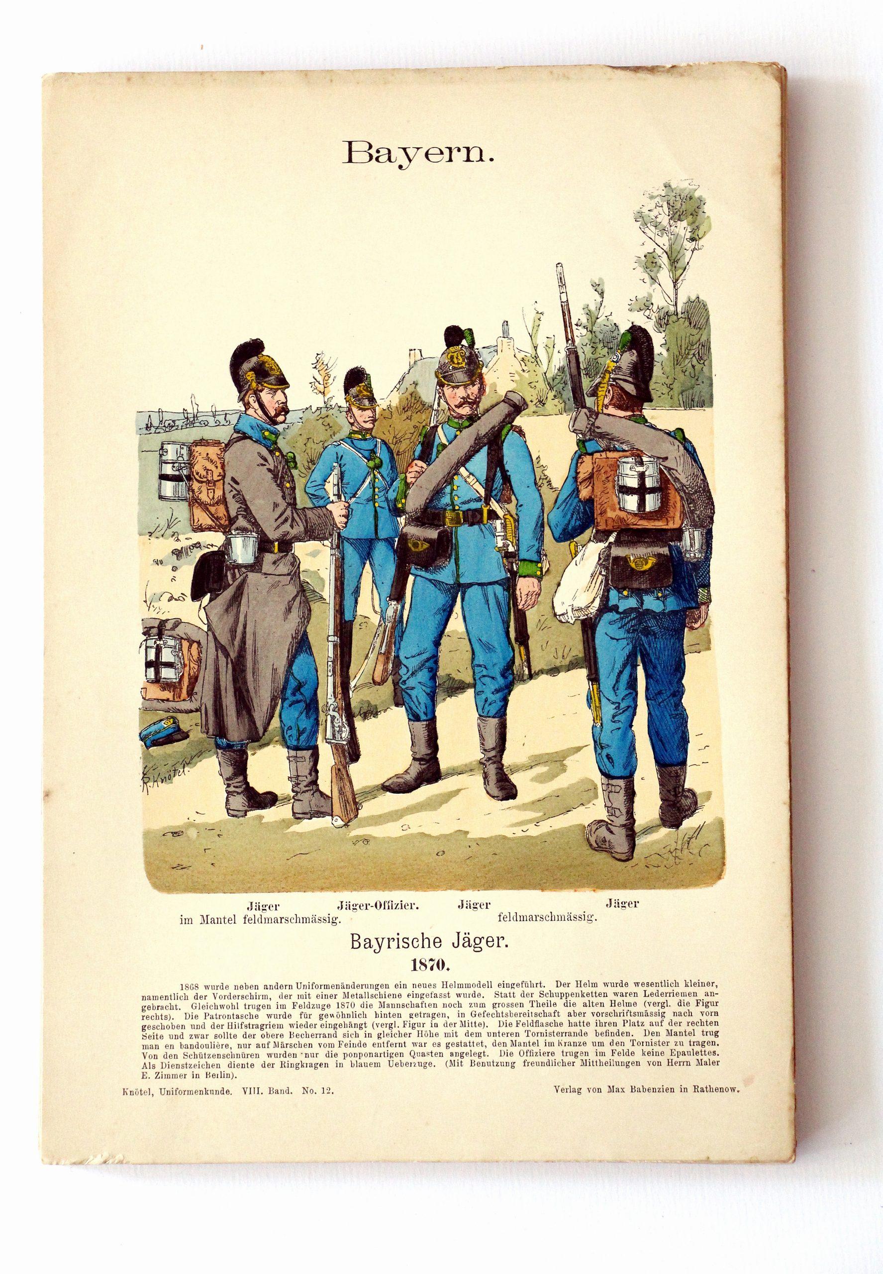 Bayern - Uniformenkunde - Richard Knoetel - VIII - Planche 12