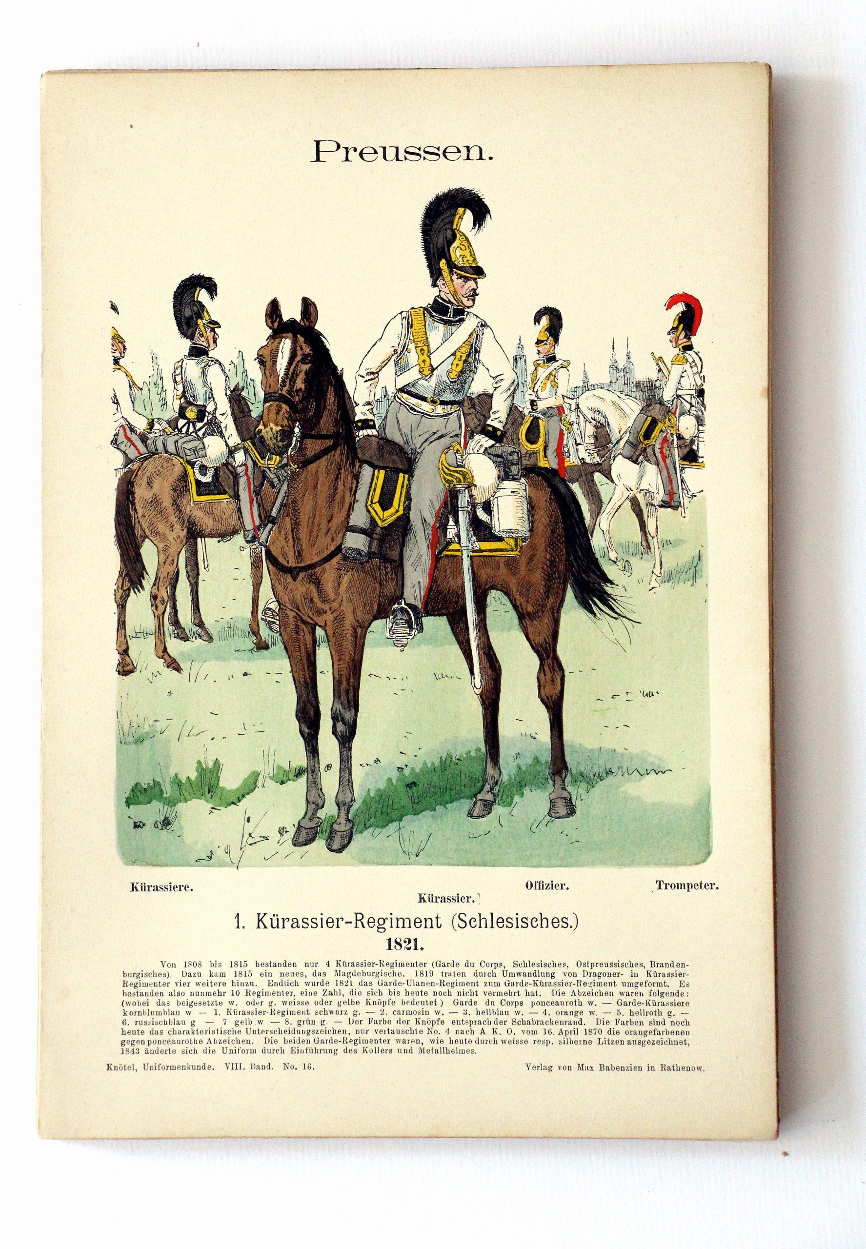 Preussen - Uniformenkunde - Richard Knoetel - VIII - Planche 16