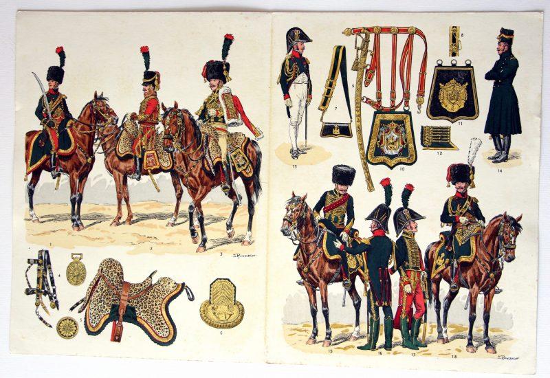 Planche sur l'armée Française N°94 - Chasseurs a Cheval - Garde Impériale - Lucien Rousselot - Officiers 1800 / 1815