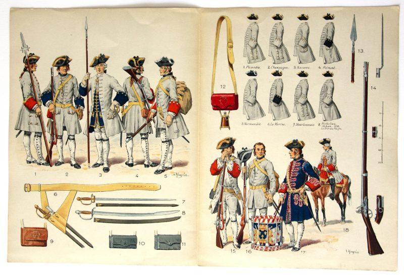 Planche sur l'armée Française N°19 - Infanterie Ordonnance de 1736 - Lucien Rousselot