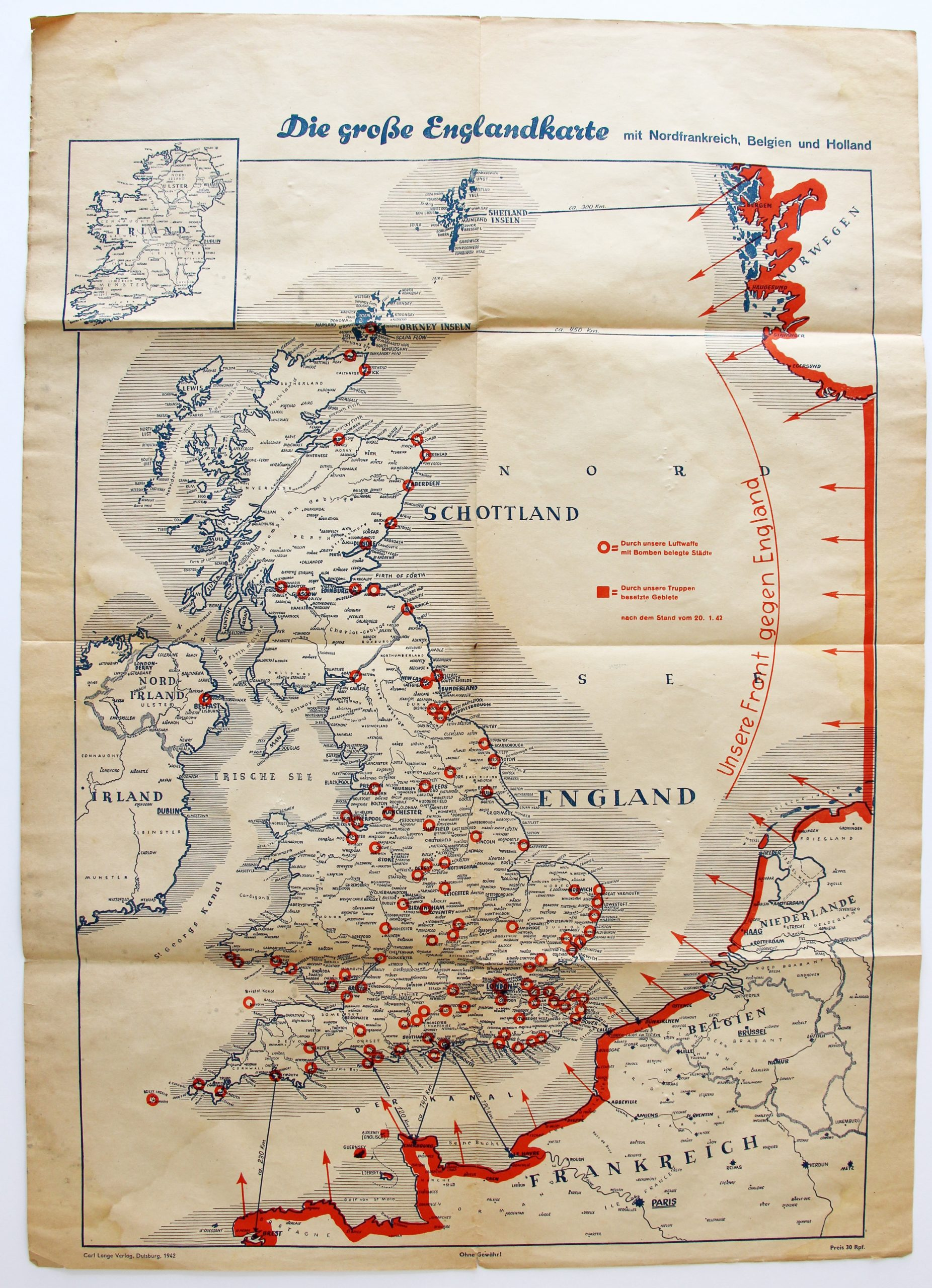 "Map of the ""front"" against England"