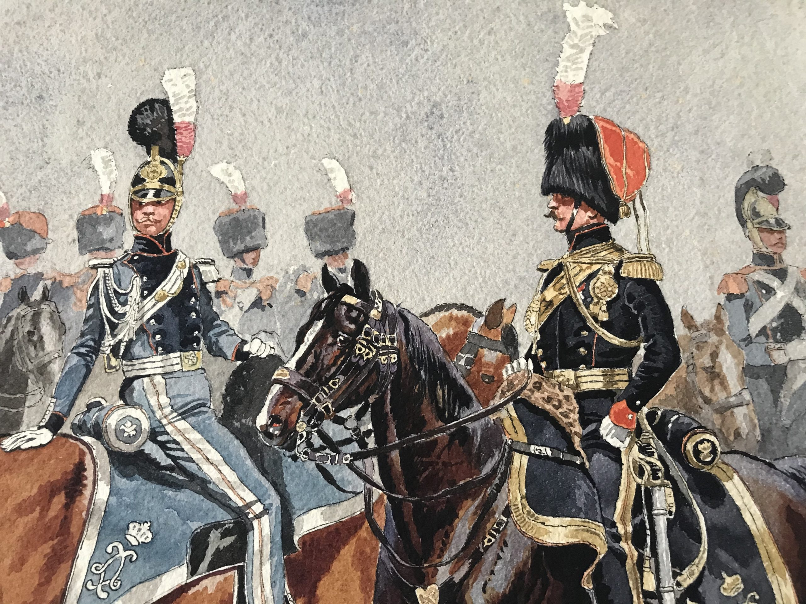 Belle Aquarelle originale - Garde Royale Restauration - Les Uniformes de la Garde Royale - Restauration