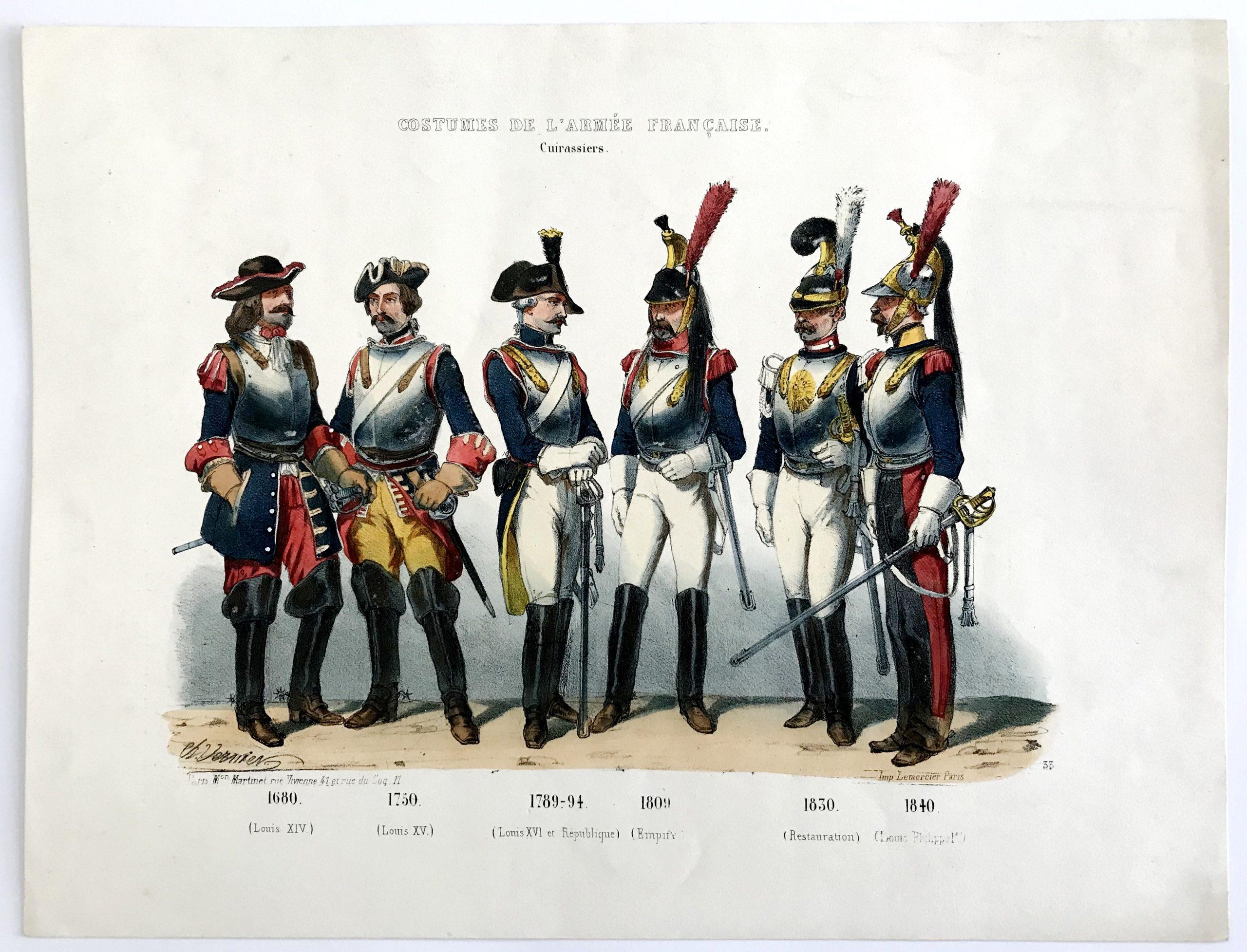 Planche ancienne sur l'armée Française - Charles Vernier - Costumes de l'armée Française - Cuirassiers N°33 - Rehaussée à la main