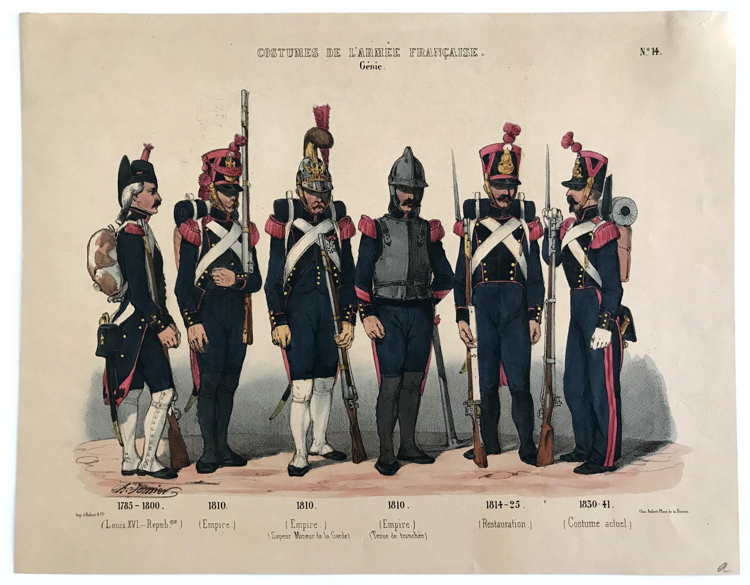Uniformes de l'Armée française de 1660 à 1845, ouvrage publié par les éditions Herissey, avec le concours des Invalides, illustré par 60 planches de dessins réalisés au xixe siècle par Charles Vernier.
