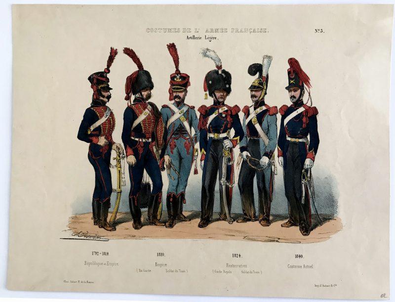 Planche ancienne sur l'armée Française - Charles Vernier - Costumes de l'armée Française - Artillerie Légère N°5 - Rehaussée à la main