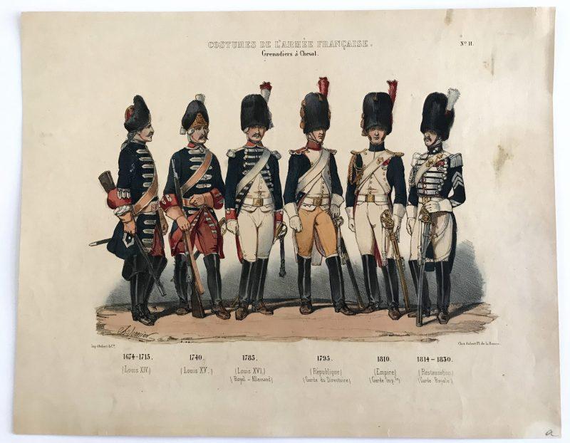 Planche ancienne sur l'armée Française - Charles Vernier - Costumes de l'armée Française - Grenadiers a Cheval N°11 - Rehaussée à la main