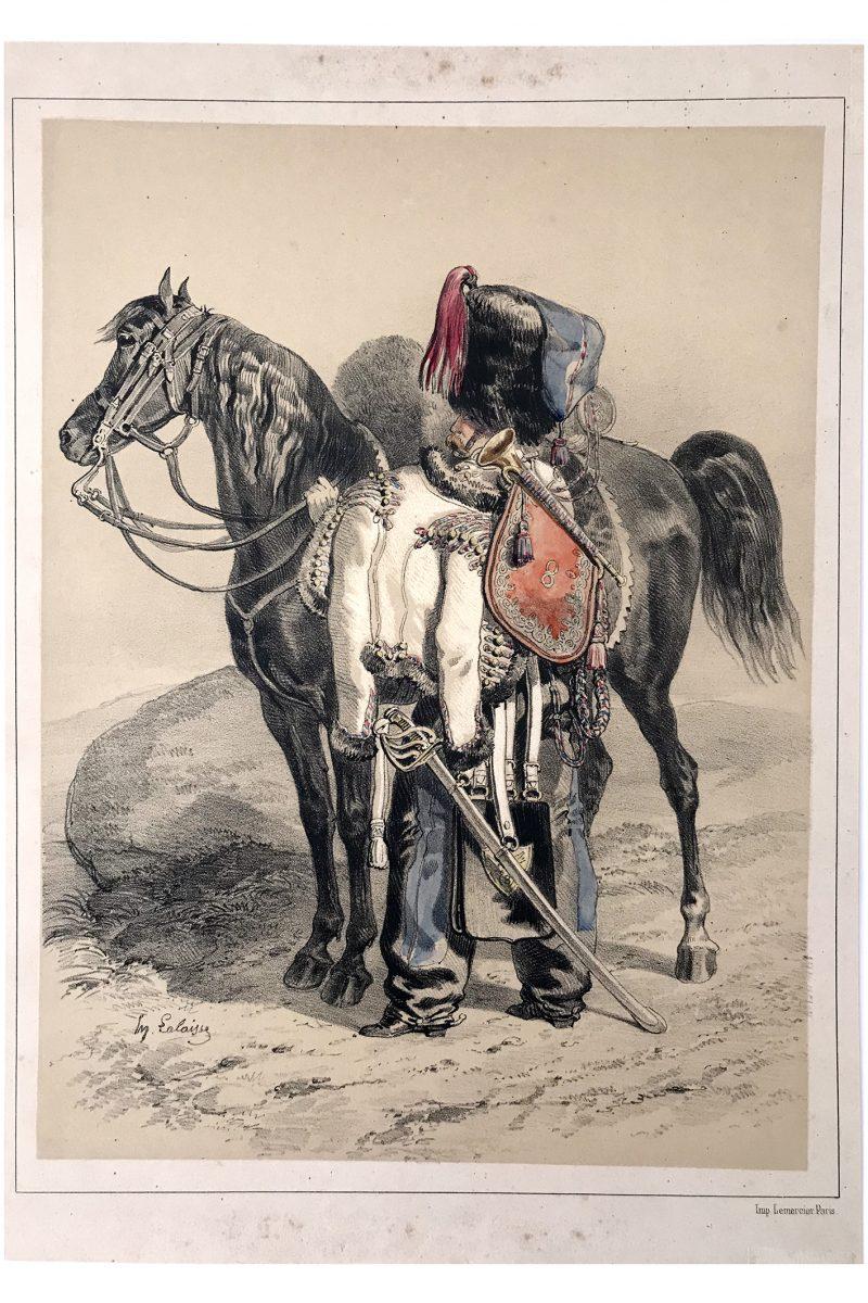 Uniforme Hussards 8 Régiment - Illustration par Lalaisse - Lithographie - 1845